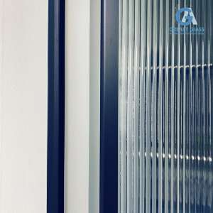 fluted glass door