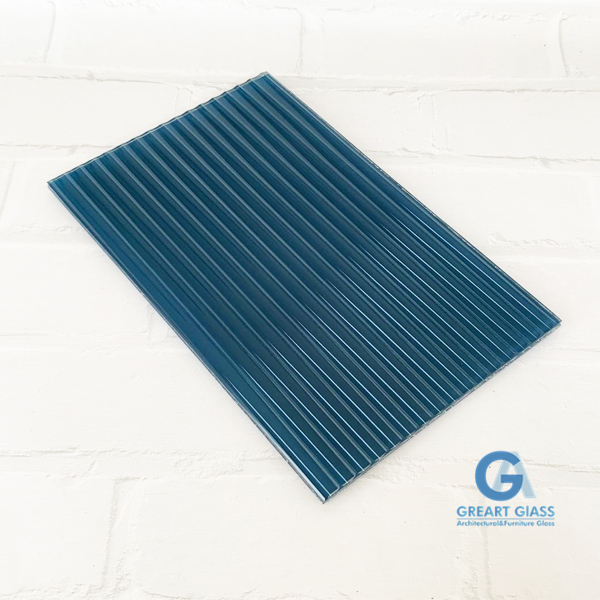 fluted glass in blue color